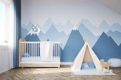 Sala de Babys com uma cama e uma barraca Fotos de Stock Royalty Free