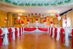 Sala de banquetes de la boda Imagen de archivo libre de regalías