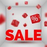 Sala de caixa aberta com texto da VENDA e as caixas vermelhas do disconto 3d ilustração stock