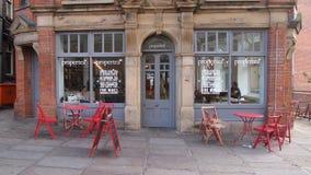 Sala de chá Manchester exterior, Inglaterra fotos de stock