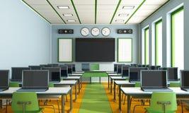 Sala de clase de las multimedias sin el estudiante Fotos de archivo