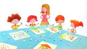 Sala de clase del jardín de la infancia stock de ilustración