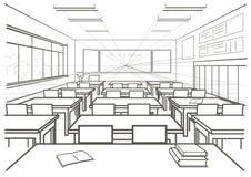 Sala de clase interior de la escuela del bosquejo arquitectónico libre illustration