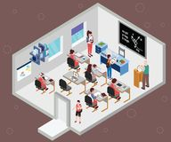 Sala de clase de los estudiantes que estudian concepto isométrico de las ilustraciones stock de ilustración