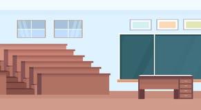 Sala de clase moderna interior de la universidad del auditorio de la sala de conferencias del sitio vacío del teatro con filas de stock de ilustración
