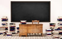 Sala de clase, pizarra en la pared blanca con la tabla, silla y pilas de libros en el piso de madera, 3d rendido ilustración del vector