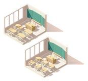 Sala de clase polivinílica baja isométrica de la escuela del vector Imagen de archivo libre de regalías