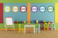 Sala de clase preescolar vacía Imagenes de archivo