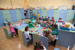 Sala de clase rumana de la guardería Imagen de archivo libre de regalías
