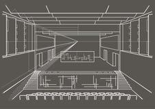 Sala de concertos arquitetónica do esboço no fundo cinzento Imagens de Stock