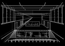Sala de concertos arquitetónica do esboço no fundo preto Imagem de Stock