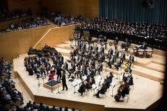Sala de conciertos Auditori Banda de municipal Barcelona con la audiencia Imagen de archivo