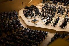 Sala de conciertos Auditori Banda de municipal Barcelona con la audiencia Fotos de archivo libres de regalías