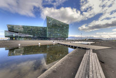 Sala de conciertos de Harpa en Reykjavik Fotos de archivo libres de regalías