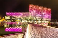Sala de conciertos Islandia de Harpa Foto de archivo libre de regalías