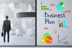 Sala de conferências com plano de negócios tirado Foto de Stock Royalty Free