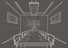 sala de conferências interior do esboço arquitetónico no fundo cinzento Foto de Stock