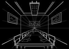 Sala de conferências interior do esboço arquitetónico no fundo preto Imagem de Stock Royalty Free
