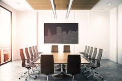 Sala de conferencias con la imagen de Circuit City Foto de archivo