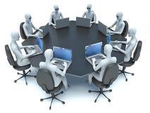 Sala de conferencias con la tabla y el hombre negros 3d Fotos de archivo