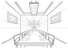 Sala de conferencias interior del bosquejo arquitectónico Imagen de archivo libre de regalías