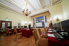Sala de conferencias Orlikov en el hotel Hilton Leningradskaya Foto de archivo libre de regalías
