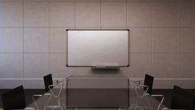 Sala de conferencias, reunión de reflexión, cámara móvil delantera, presentación delantera del tablero blanco Puesta del sol 3d almacen de metraje de vídeo