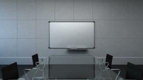 Sala de conferencias, reunión de reflexión, cámara móvil delantera, presentación delantera del tablero blanco Tiempo del día 3d stock de ilustración
