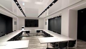 Sala de conferencias vacía en la tienda de Microsoft en la 5ta avenida en Manhattan