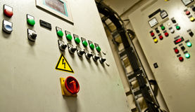Sala de control de un buque de carga de la extra grande Fotos de archivo libres de regalías