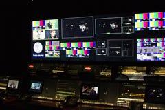 Sala de control en la exposición de SNL en NYC imagen de archivo libre de regalías