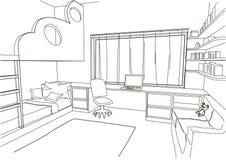 Sala de criança arquitetónica do esboço Imagens de Stock