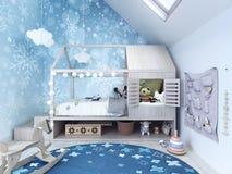 Sala de criança, quarto das crianças com tapete azul e brinquedos Fotos de Stock Royalty Free