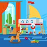 A sala de crianças com brinquedos ilustração royalty free