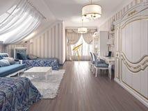 Sala de crianças luxuosa no estilo clássico, com duas camas Foto de Stock