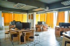 Sala de ensino do treinamento da prática da edição audio e video Imagens de Stock