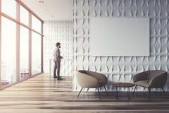 Sala de espera branca do escritório, cartaz, homem de negócios Imagens de Stock Royalty Free
