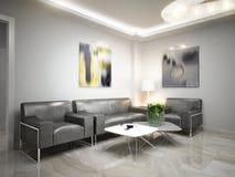 Sala de espera de alta tecnología de la recepción del minimalismo moderno Foto de archivo