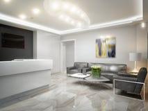 Sala de espera de alta tecnología de la recepción del minimalismo moderno Fotos de archivo