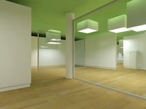 Sala de espera del hospital, cubos de la luz verde stock de ilustración