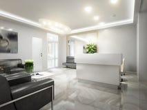 Sala de espera moderna da recepção da Alto-tecnologia do minimalismo Imagem de Stock Royalty Free