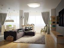 Sala de estar abierta del estudio contemporáneo urbano moderno, comedor Imagen de archivo