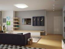 Sala de estar abierta del estudio contemporáneo urbano moderno, comedor Fotografía de archivo libre de regalías