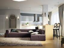 Sala de estar abierta del estudio contemporáneo urbano moderno, comedor Fotos de archivo