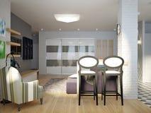Sala de estar abierta del estudio contemporáneo urbano moderno, comedor Imagen de archivo libre de regalías