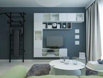 A sala de estar adolescente com marinha mura o estilo moderno Imagem de Stock Royalty Free