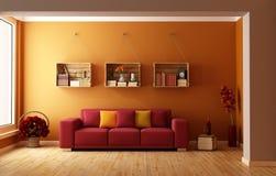 Sala de estar alaranjada Fotos de Stock Royalty Free