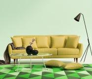 Sala de estar amarilla de lujo elegante elegante foto de archivo libre de regalías