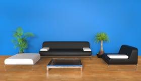 Sala de estar azul Fotografía de archivo