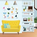 Sala de estar azul Imagen de archivo